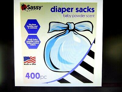 Sassy Baby Powered Scented Diaper Sacks Bags Disposable 400 ct. - NEW