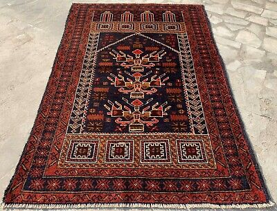 Authentic Hand Knotted Afghan Balouch Wool Area Rug 5 x 3 Ft (146 HM)