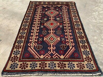 Authentic Hand Knotted Afghan Balouch Wool Area Rug 4.3 x 2.8 Ft (147 HM)