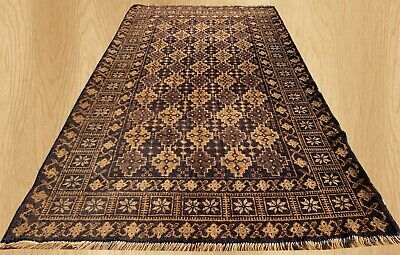 Authentic Hand Knotted Afghan Balouch Wool Area Rug 6.5 x 3.7 Ft (651 HM)