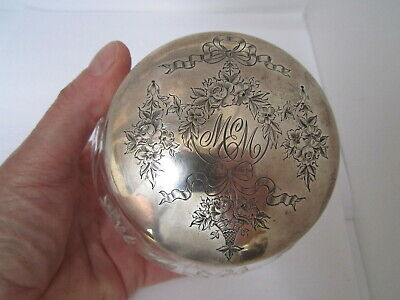 Large Ornate Gorham CUT GLASS & STERLING LID COVER DRESSER VANITY JAR - c 1905