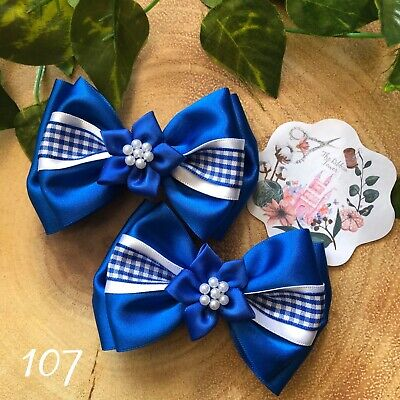 x2 Handmade school hair bows child's clips bobbles kids accessories girls boys