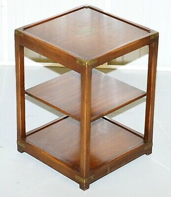 Stunning Bevan Funnell Military Campaign Mahogany Two Tiered Side End Lamp Table