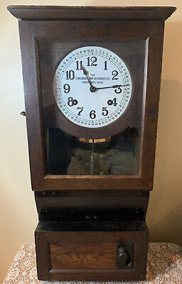 Antique Cincinnati Time Recorder Co Time Clock Serviced & Working Great