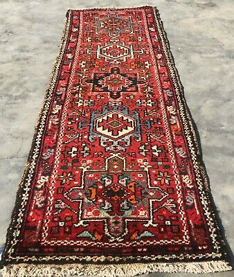Authentic Hand Knotted Vintage Harees Wool Area Runner 5 x 2 Ft (8020 BN)