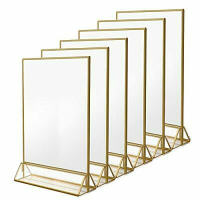 NIUBEE 6Pack 8.5 x 11 Acrylic Sign Holder with Gold Frames and Vertical Stand...