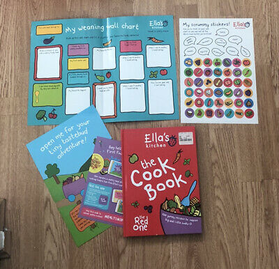 ellas kitchen red cook book with food chart and stickers