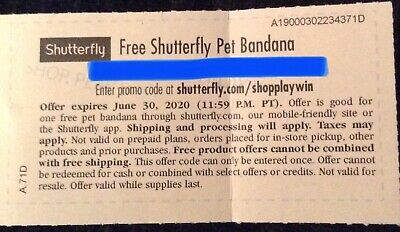 ONE (1) CODE Shutterfly PET BANDANA Photo Print Picture COUPON DISCOUNT