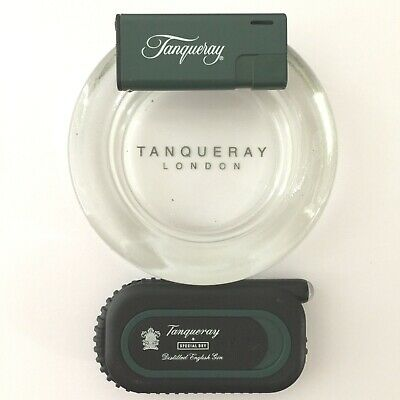 Tanqueray Advertising Trio Gift Set: Firebird Lighter-Glass Ash Tray-Book Light