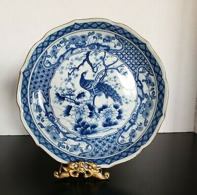 "Toyo Japan Imari Porcelain Blue & White Peacock 10""  Plate Or Bowl marked"