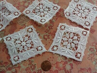 7 Antique HEAVILY  Embroidered Lace FLORAL Trim vintage dolls square lot  Motifs