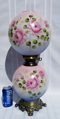 GORGEOUS Vintage Pink Roses Gone With The Wind Hurricane Parlor Lamp 1 of 2