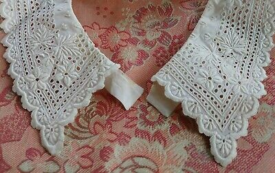 Heavily Embroidered Lace Trim antique ladies collar child's 14""