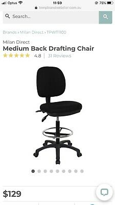 Temple & Webster Black Drafting Office Chair Milan Direct New Inner Sydney 2131