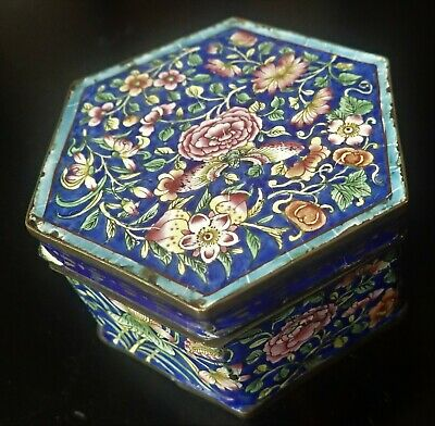 ANTIQUE CHINESE ENAMEL COVERED BOX gold old restoration on bottom