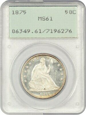 1875 50c PCGS MS61 - Liberty Seated Half Dollar - First Generation PCGS Holder