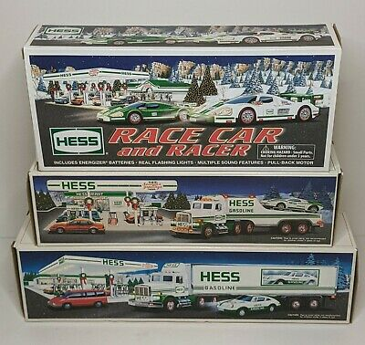 Lot of (3) Hess 2009 1991 1992 Race Car and Racer, 18-Wheeler, Toy Truck Racer