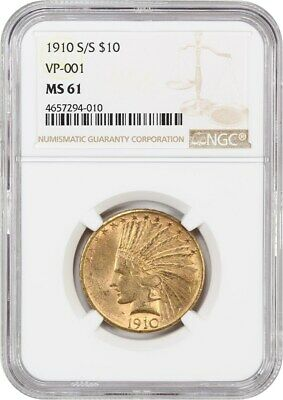 1910-S/S $10 NGC MS61 (VP-001) Indian Eagle - Gold Coin