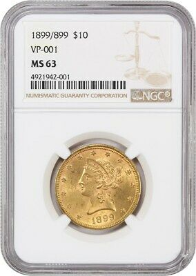 1899/899 $10 NGC MS63 (VP-001) Liberty Eagle - Gold Coin - Scarce Repunched Date