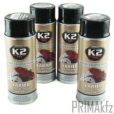 4x ORIGINAL K2 Bremssattellack Spray Brake Caliper Paint Schwarz 400ml
