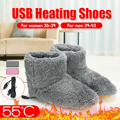 Women's Man's USB Electric Heating Plush Shoes Foot Indoor Winter Warmer Shoes