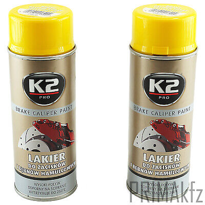 2x ORIGINAL K2 Bremssattellack Spray Brake Caliper Paint Gelb 400ml