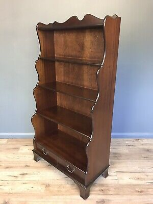 Antique Style Waterfall Fronted Open Bookcase