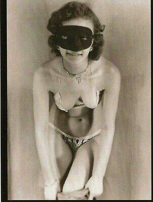 Postcard From Vintage Photograph Of Masked Nude Woman Getting Dressed