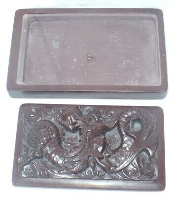 Chinese Stone Dragon Inkstone Ink Stone with Lid Calligraphy Tool Brown