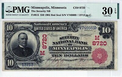 Minneapolis, Minnesota  Security National Bank $10 1902 RS  CH# 8720  PMG 30 EPQ