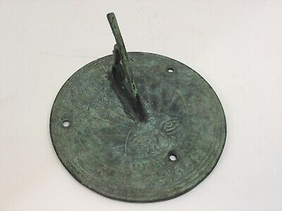 Rare Antique English architectural reclamation salvage bronze sundial dated 1657