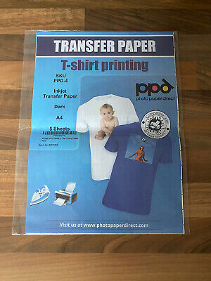 ppd A4 Dark Inkjet T Shirt Transfer Paper x 5 A4 Sheets