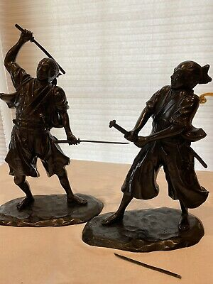 Pair Of Japanese Bronze Samurai Figures