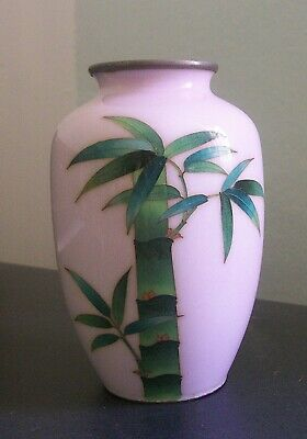 Japanese Cloisonne Vase Bamboo on Pink Ground
