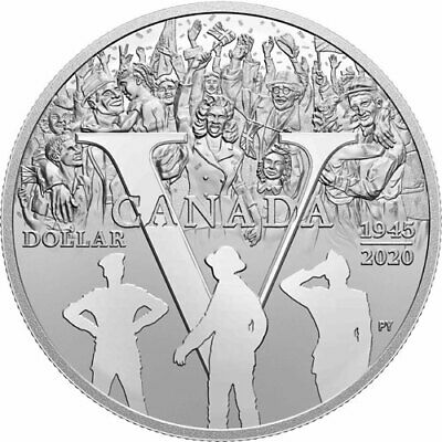 2020 Canada 75th anniversary of 1944 VE Day Silver dollar 99.99% silver IN STOCK