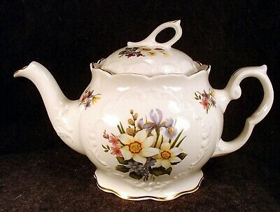 Vintage Crown Dorset China Made In England Floral Decorated Tea Pot