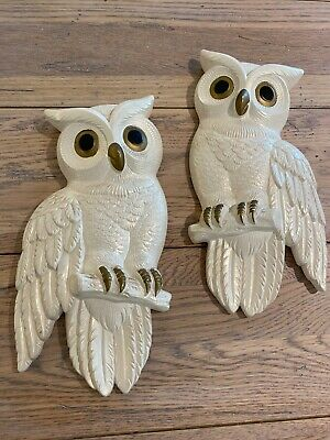 Vintage Owl Wall Plaques Miller Studio Chalk Ware White 1978 11 Inch x 5 Inch
