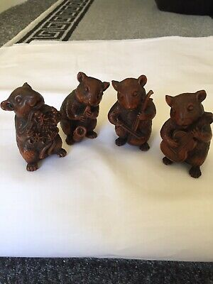 Rare Set Of 4 Mice Playing Music - Handcarved Boxwood Figurines
