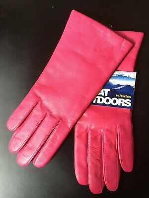 Women Pink Leather Gloves