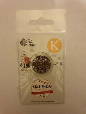 2018 Royal Mint New Uncirculated 10p Coin Letter K (Knights) in a pack