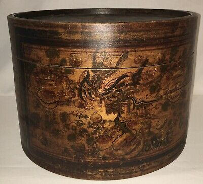 """Vintage Antique Chinese Bamboo Round Hat Box -14"""" x 10"""""""