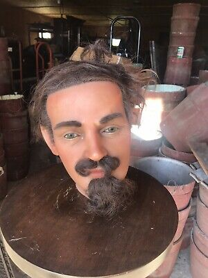 antique mannequin Wax Head French? Glass Eyes Human Hair Early Male
