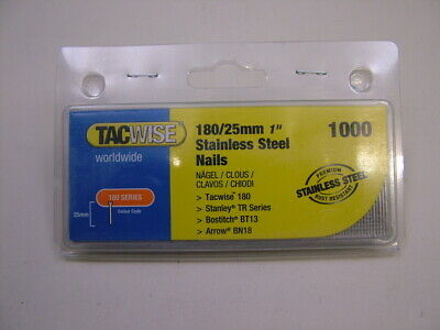 2nd fix Stainless Steel straight brad finish nails 18 gauge 25mm box of 1000