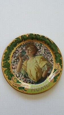 Antique Advertising Moxie Tip Tray 6 Inch Dia. Great Tray!