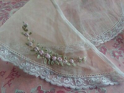 Silky flower Embroidered Lace Trim antique ladies SHEER collar