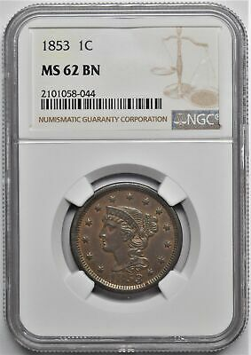 1853 Braided Hair Large Cent 1C Ngc Ms 62 Bn