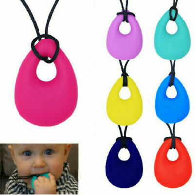 (1) Kids Teardrop Pendant Baby Teething Bite Chew Necklace Soft Teether Toy