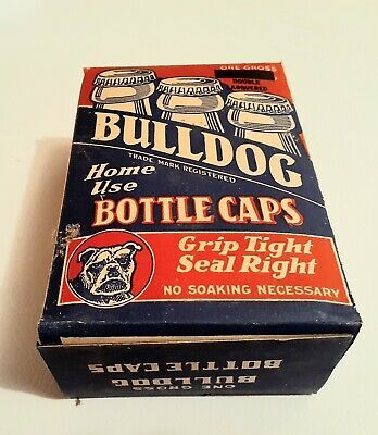 Full box of BULLDOG home use bottle caps, 144 vintage caps, St Louis USA