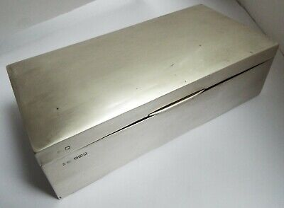 Handsome Large Heavy English Antique 1919 Solid Sterling Silver Cigarette Box