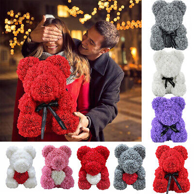 Large Artificial Rose Bear Teddy Foam Roses Flower Wedding Birthday Gift 25/40cm